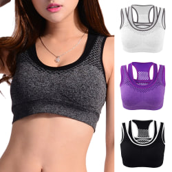 Fake Two Pieces Sport Underkläder Mesh Andas Kvinnor Sexig BH Purple L