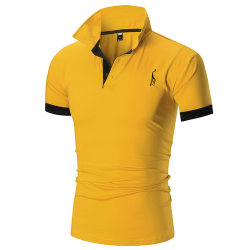 Mode Casual herrtröja med Fawn-tryck och korta ärmar Yellow XL