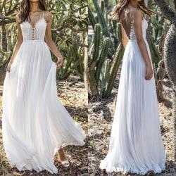 Mode Djup V-rem Chiffongklänning Grimma Vit Kvinnor Elegant White L