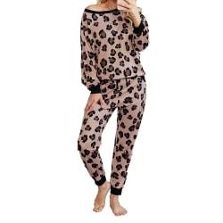 Mode Leopardmönster 2-delars uppsättning Dam Casual Loose Women's Pink S