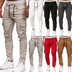 Fashion Men Casual Summer Stretchy Sweatpants Elastic red L
