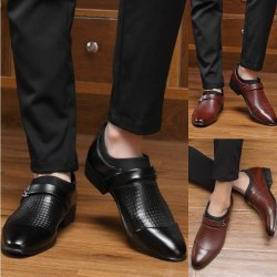 Mode herr Business läderskor pekade black 41