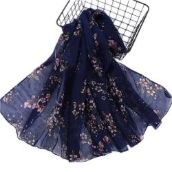 Modetryckt halsduk lätt och andas mjukt för kvinnor Navy blue