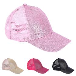 Mode paljetterad basebollkeps andningsbar justerbar för tjejer Pink