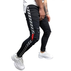 Fashionabla jeans för män Webbing hål Små fötter Sport arbetskläder Black XXXL