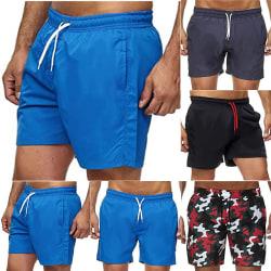 Fitness Lace-up Pocket Portable Shorts Träningsbyxor för män Blue L