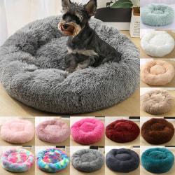 Fullt stödd lyxig soffa rund plysch hund sängkudde light grey 60cm