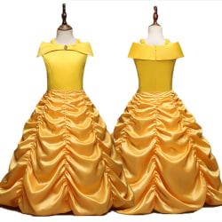 Flickor karaktär klänning Beauty Beast Belle Princess veckad kjol As pics 130cm