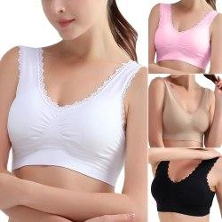 Lättvikts andningsbar sportbehå för tjejer, ren färgunderkläder Pink 2XL