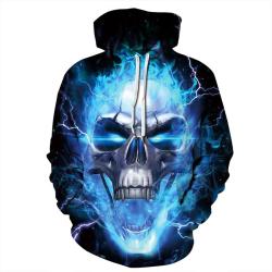 Halloween Skalle 3D Digital tryckt par blue 2XL