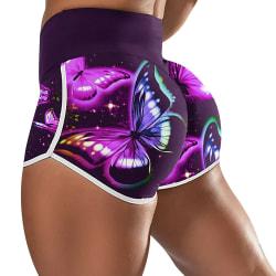 Elastiska yogashorts med hög midja fjärilstryck för kvinnosport Purple L