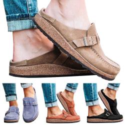 Kvinnor Shoes spänne Slip-on tofflor Brick Red 40