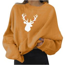 Ladie Casual jul älg Print Pullover långärmad tröja Yellow M