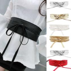 Ladies Bow Tie Straps Bright Leather Belt Adjustable Elasticity White