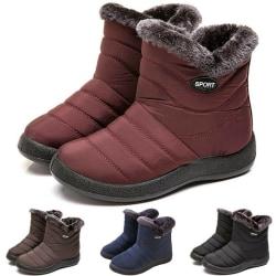 Damer pälsfodrad snö vattentät ankel blixtlås platt casual skor Red 39