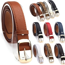 Ladies Pin Buckle Patent Leather Perforated Adjustable Belt White
