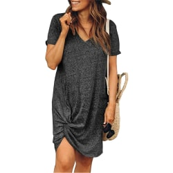 Damer rund hals kort ärm knuten klänning Street Style Deep gray XL