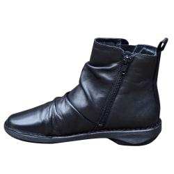 Kvinnor Läder Ankelstövlar Platta Klackar Blixtlås Vinterskor Black 42