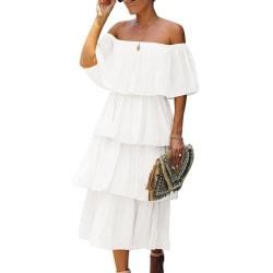 Dam sommar Off Shoulder lös kort ärm Chiffongklänning White L