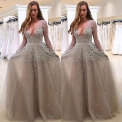 Dam Bröllop Aftonklänning V-ringning Genomskinlig klänning Lång kjol Gray L