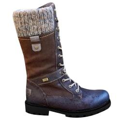 Kvinnor damer mittkalv Varma greppsula stövlar snörning platt skor Brown 42