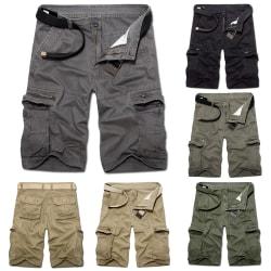 Man Sports Beach Shorts Byxor Fickor Army Green Black 31