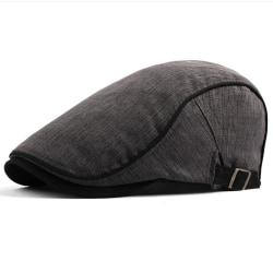 Män British Style Cotton Beret Street Fashion Peaked Cap Deep gray