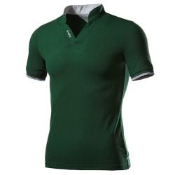 Herr Business Wear Stand-up Collar Letter Polo Shirt Match Green L
