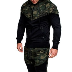 Män Kamouflage Color Block Hooded Jacket Casual Outdoors Kappor Green XL