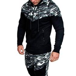 Män Kamouflage Color Block Hooded Jacket Casual Outdoors Kappor light gray 2XL