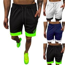 Män Casual bokstäver Kontrasterande färg Sportsshorts Joggingbyxor Black-green XL