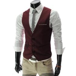 Herr kedjeknapp kostym västjacka kofta korta smala rockar Wine red XL