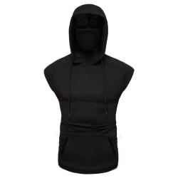 Män hög hals Hooded Potection väst Black 3XL