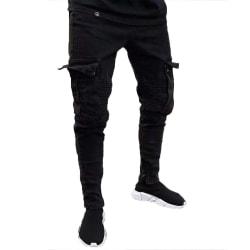 Herr Jeans Rippade fötter Byxor Fickor Bärbar Casual Overaller Black L