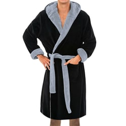 Män långärmad badrock handduk med huva Mjuk Loungewear klänning Black-Grey XL
