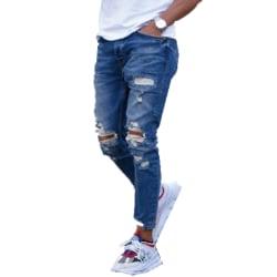 Mäns nya matchande jeans med rippade fötter utomhus byxor mode Deep blue XXXL