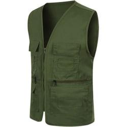 Herr Pocket Zipper Fisherman Vest Jacket Casual Street Cool Coats ArmyGreen 2XL