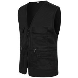 Herr Pocket Zipper Fisherman Vest Jacket Casual Street Cool Coats Black L
