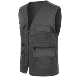 Herr Pocket Zipper Fisherman Vest Jacket Casual Street Cool Coats Deep gray XL