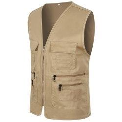Herr Pocket Zipper Fisherman Vest Jacket Casual Street Cool Coats Khaki 3XL