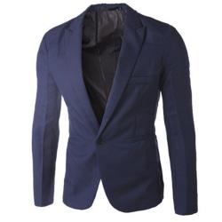 Män Professional Business Wear Suit Jacket Knappar Fickrockar Navy blue XL