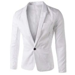 Män Professional Business Wear Suit Jacket Knappar Fickrockar White M