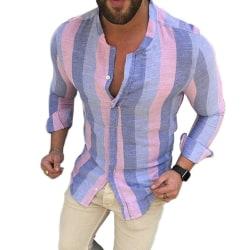 Mäns Colorblock randig casual skjorta långärmad knapp topp Pink XL