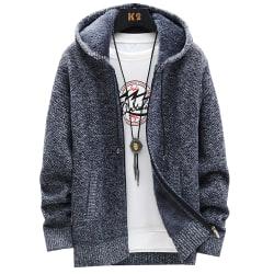 Mäns Plus sammet vadderad kofta tröja ullrock Dark Grey XL
