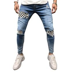 Mäns slitna Slim Fit-jeans för män Snabbtorkande andningsbar Light blue XXL