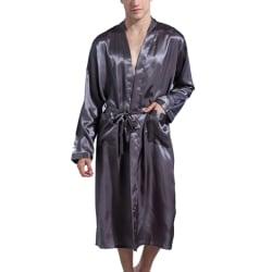 Män Sexig Midjebälte Långärmad Mjukrock Pyjamas Grey S