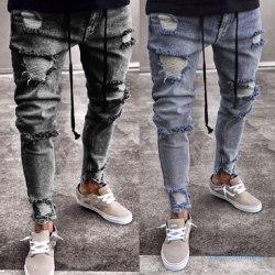 Män Skinny Denim Jeans Slim Ripped Designer Biker Black 4XL