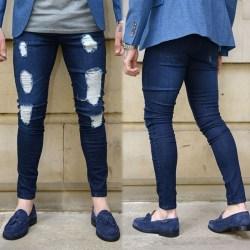 Herr Skinny Ripped Denim Pants Elastic Jeans dark blue XL