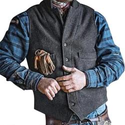 Herr Slim Fit-knapp Västjacka Vanliga västtoppar S