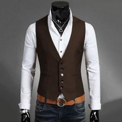Herrdräkt Väst Bottonjacka Business Kort Slim Waistcoat deep brown 5XL